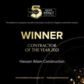 """Hassan Allam Holding proudly announces that Hassan Allam Construction won """"Contractor of the Year"""" at The Big 5 Impact Awards held on June 27th at the Cairo International Convention Centre"""